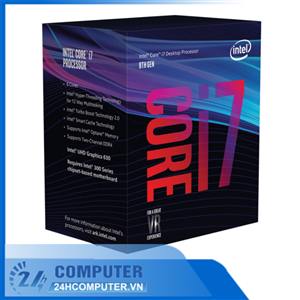 Bộ vi xử lý Intel Core i7 8700K 3.7Ghz Turbo Up to 4.7Ghz / 12MB / 6 Cores, 12 Threads